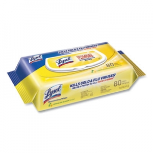 Lysol Disinfecting Wipes Flatpacks, 6.69 x 7., Lemon and Lime Blossom, 80 Wipes/Flat Pack, 6 Flat Packs/Carton